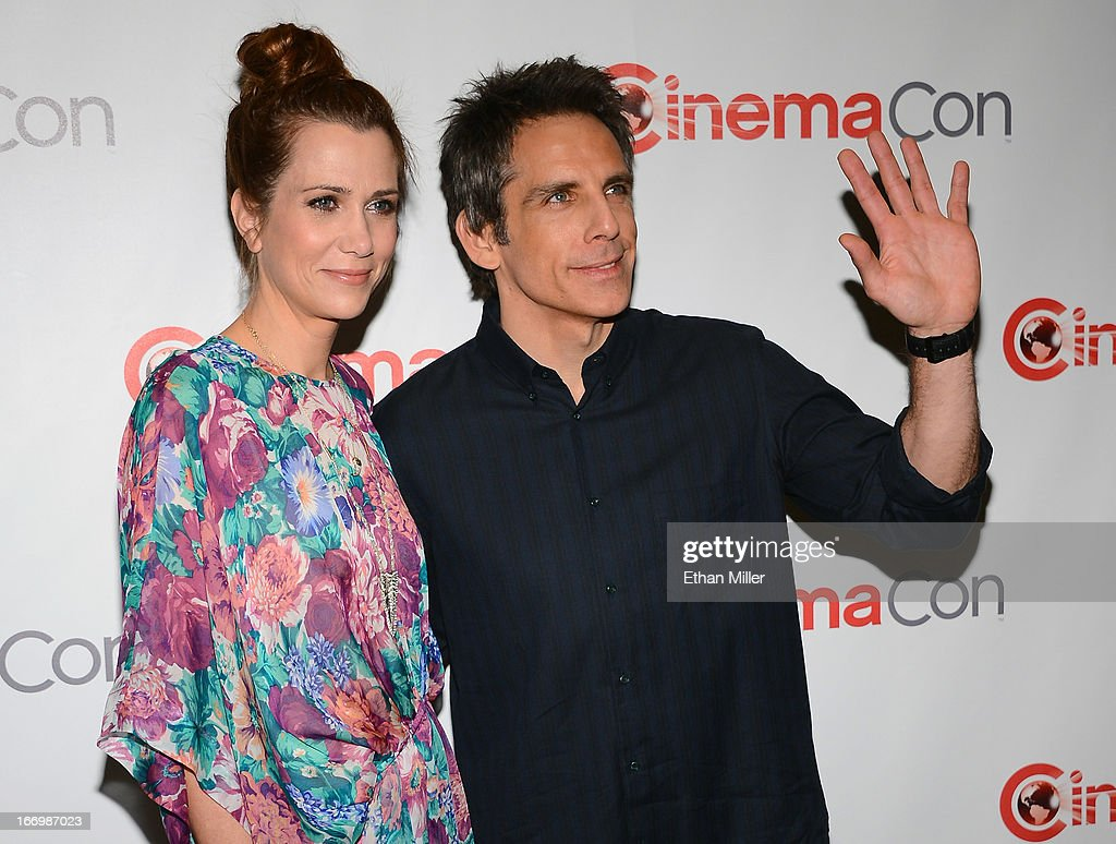Actress Kristen Wiig (L) and actor Ben Stiller arrive at a Twentieth Century Fox presentation to promote the upcoming film 'The Secret Life of Walter Mitty' at Caesars Palace during CinemaCon, the official convention of the National Association of Theatre Owners, on April 18, 2013 in Las Vegas, Nevada.