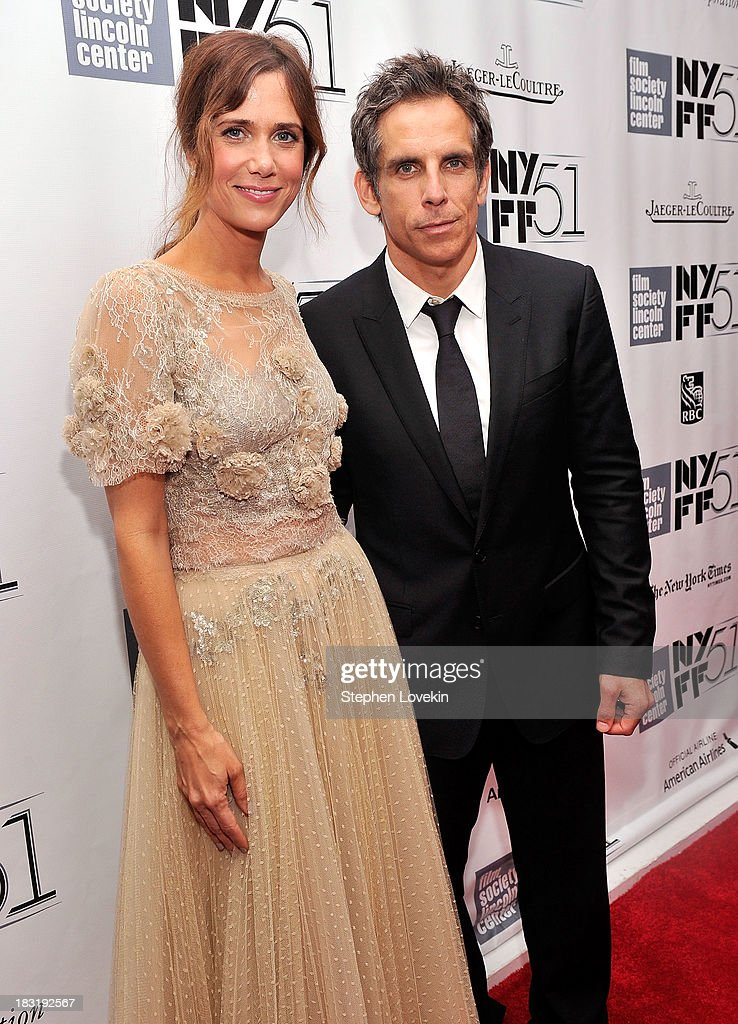 Actress <a gi-track='captionPersonalityLinkClicked' href=/galleries/search?phrase=Kristen+Wiig&family=editorial&specificpeople=4029391 ng-click='$event.stopPropagation()'>Kristen Wiig</a> (L) and actor <a gi-track='captionPersonalityLinkClicked' href=/galleries/search?phrase=Ben+Stiller&family=editorial&specificpeople=201806 ng-click='$event.stopPropagation()'>Ben Stiller</a> attend the Centerpiece Gala Presentation Of 'The Secret Life Of Walter Mitty' during the 51st New York Film Festival at Alice Tully Hall at Lincoln Center on October 5, 2013 in New York City.