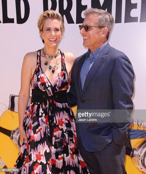 Actress Kristen Wiig and actor Steve Carell attend the premiere of 'Despicable Me 3' at The Shrine Auditorium on June 24 2017 in Los Angeles...