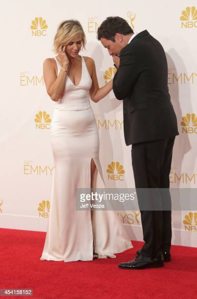 Actress Kristen Wiig and comedian Jimmy Fallon attend the 66th Annual Primetime Emmy Awards held at Nokia Theatre LA Live on August 25 2014 in Los...