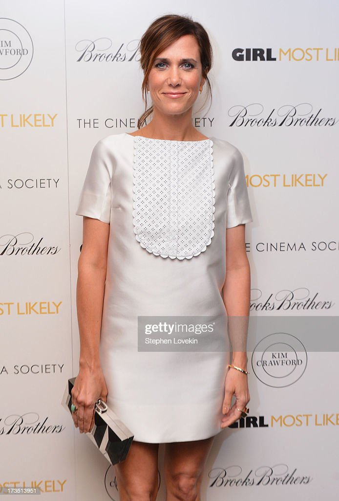 Actress <a gi-track='captionPersonalityLinkClicked' href=/galleries/search?phrase=Kristen+Wiig&family=editorial&specificpeople=4029391 ng-click='$event.stopPropagation()'>Kristen Wiig</a> attends the screening of Lionsgate and Roadside Attractions' 'Girl Most Likely' hosted by The Cinema Society & Brooks Brothers at Landmark's Sunshine Cinema on July 15, 2013 in New York City.