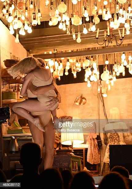 Actress Kristen Wiig dancer Maddie Ziegler and recording artist Sia perform onstage during The 57th Annual GRAMMY Awards at the STAPLES Center on...