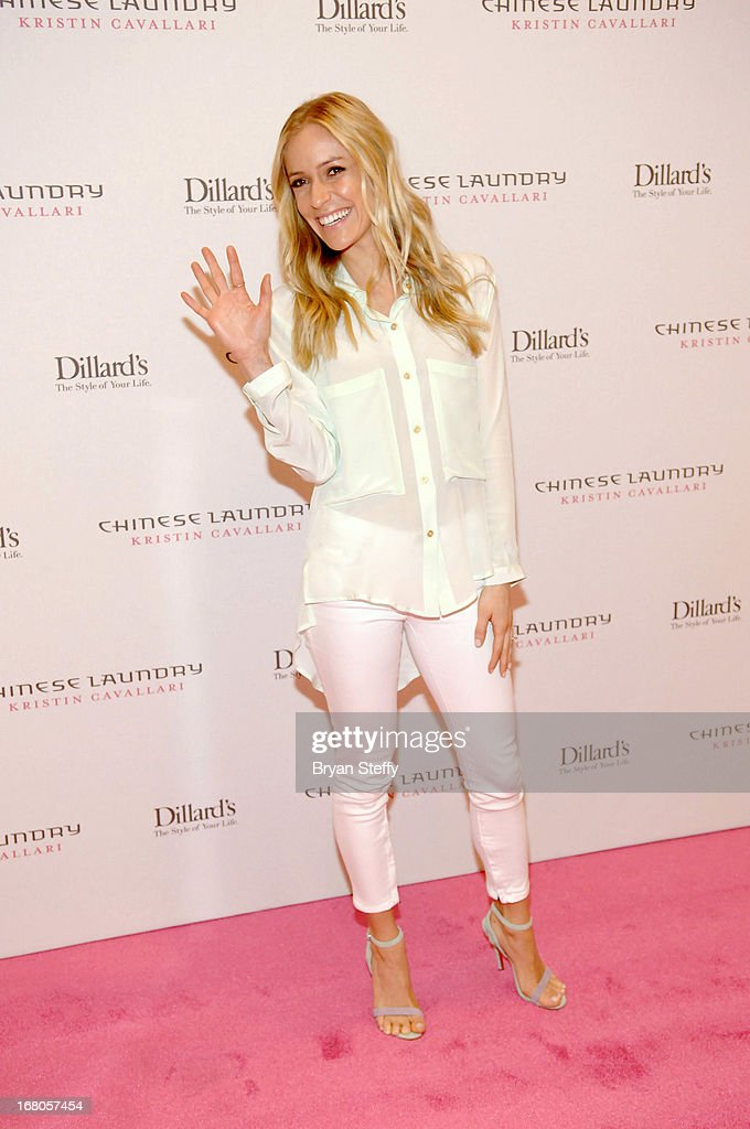 Actress <a gi-track='captionPersonalityLinkClicked' href=/galleries/search?phrase=Kristin+Cavallari&family=editorial&specificpeople=552572 ng-click='$event.stopPropagation()'>Kristin Cavallari</a> arrives at Dillard's in support of her new line of Chinese Laundry shoes at the Fashion Show mall on May 4, 2013 in Las Vegas, Nevada.