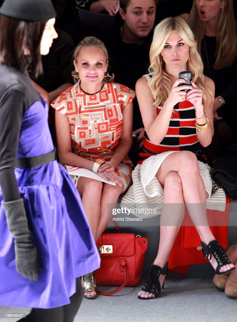 Actress <a gi-track='captionPersonalityLinkClicked' href=/galleries/search?phrase=Kristin+Chenoweth&family=editorial&specificpeople=207096 ng-click='$event.stopPropagation()'>Kristin Chenoweth</a> and <a gi-track='captionPersonalityLinkClicked' href=/galleries/search?phrase=Tinsley+Mortimer&family=editorial&specificpeople=207123 ng-click='$event.stopPropagation()'>Tinsley Mortimer</a> attend the Milly By Michelle Smith Fall 2012 fashion show during Mercedes-Benz Fashion Week at The Stage at Lincoln Center on February 15, 2012 in New York City.