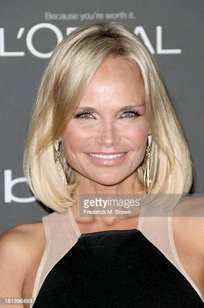 Actress Kristin Chenoweth arrives at Entertainment Weekly's PreEmmy Party at Fig Olive Melrose Place on September 20 2013 in West Hollywood California