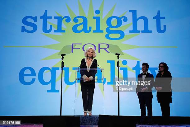 Actress Kristin Chenoweth Blake Christopher O'Donnell and actress Rosie O'Donnell speak onstage at PFLAG National's eighth annual Straight for...