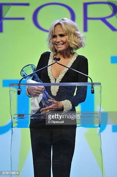 Actress Kristin Chenoweth speaks onstage at PFLAG National's eighth annual Straight for Equality awards gala at Marriot Marquis on April 4 2016 in...