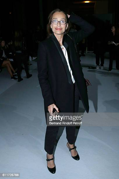 Actress Kristin Scott Thomas attends the Haider Ackermann show as part of the Paris Fashion Week Womenswear Spring/Summer 2017 on October 1 2016 in...