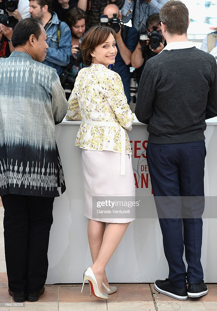 Actress <a gi-track='captionPersonalityLinkClicked' href=/galleries/search?phrase=Kristin+Scott+Thomas&family=editorial&specificpeople=203290 ng-click='$event.stopPropagation()'>Kristin Scott Thomas</a> attends the photocall for 'Only God Forgives' during The 66th Annual Cannes Film Festival at the Palais des Festivals on May 22, 2013 in Cannes, France.