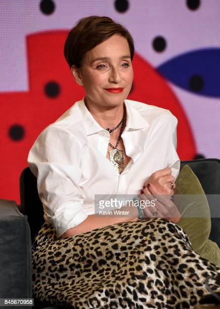 Actress Kristin Scott Thomas speaks onstage at 'Darkest Hour' press conference during 2017 Toronto International Film Festival at TIFF Bell Lightbox...