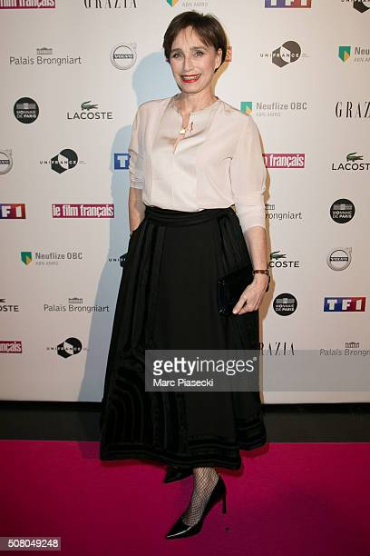 Actress Kristin ScottThomas attends the 'Trophees du Film Francais' 23rd ceremony at Palais Brongniart on February 2 2016 in Paris France