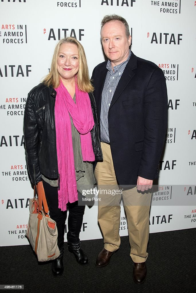 Actress Kristine Nielsen and Brent Langdon attend the Arts in the Armed Forces 7th annual performance of 'Lobby Hero' at Studio 54 on November 9 2015...