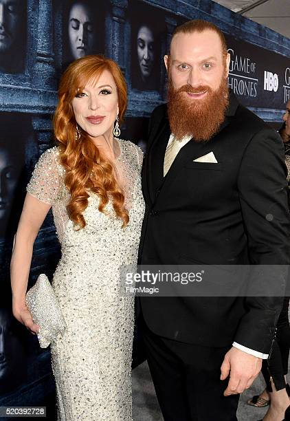 Actress Kristofer Hivju and Gry Molvær attend the premiere for the sixth season of HBO's 'Game Of Thrones' at TCL Chinese Theatre on April 10 2016 in...