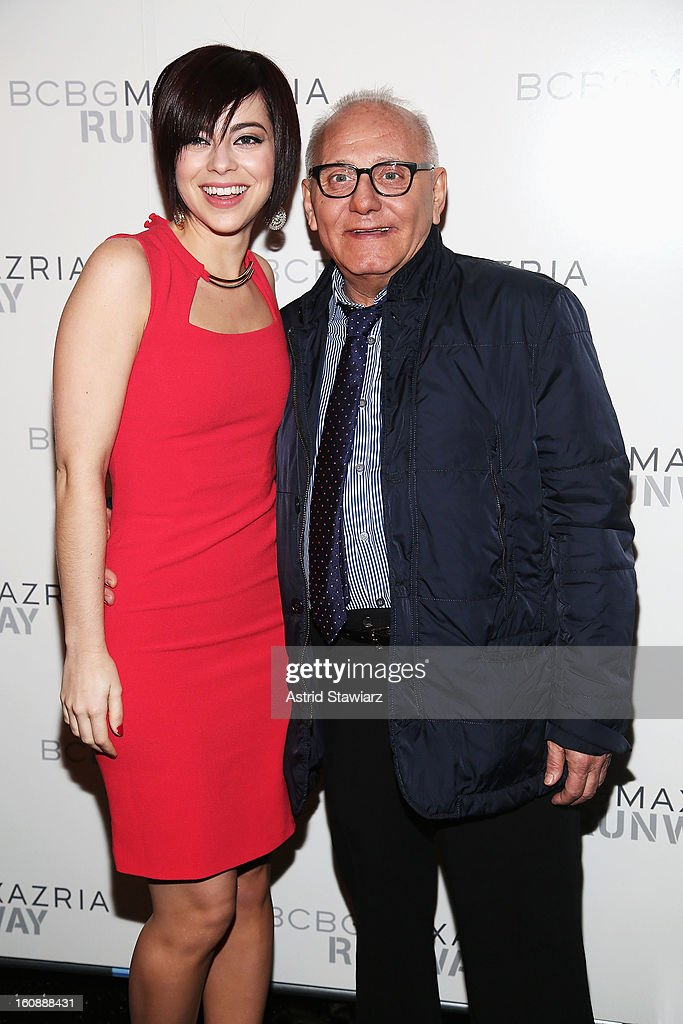 Actress <a gi-track='captionPersonalityLinkClicked' href=/galleries/search?phrase=Krysta+Rodriguez&family=editorial&specificpeople=5356530 ng-click='$event.stopPropagation()'>Krysta Rodriguez</a> and Designer Max Azria pose backstage at the BCBGMAXAZRIA Fall 2013 fashion show during Mercedes-Benz Fashion Week at The Theatre at Lincoln Center on February 7, 2013 in New York City. (Photo by Astrid Stawiarz/Getty Images for Mercedes-Benz Fashion Week).