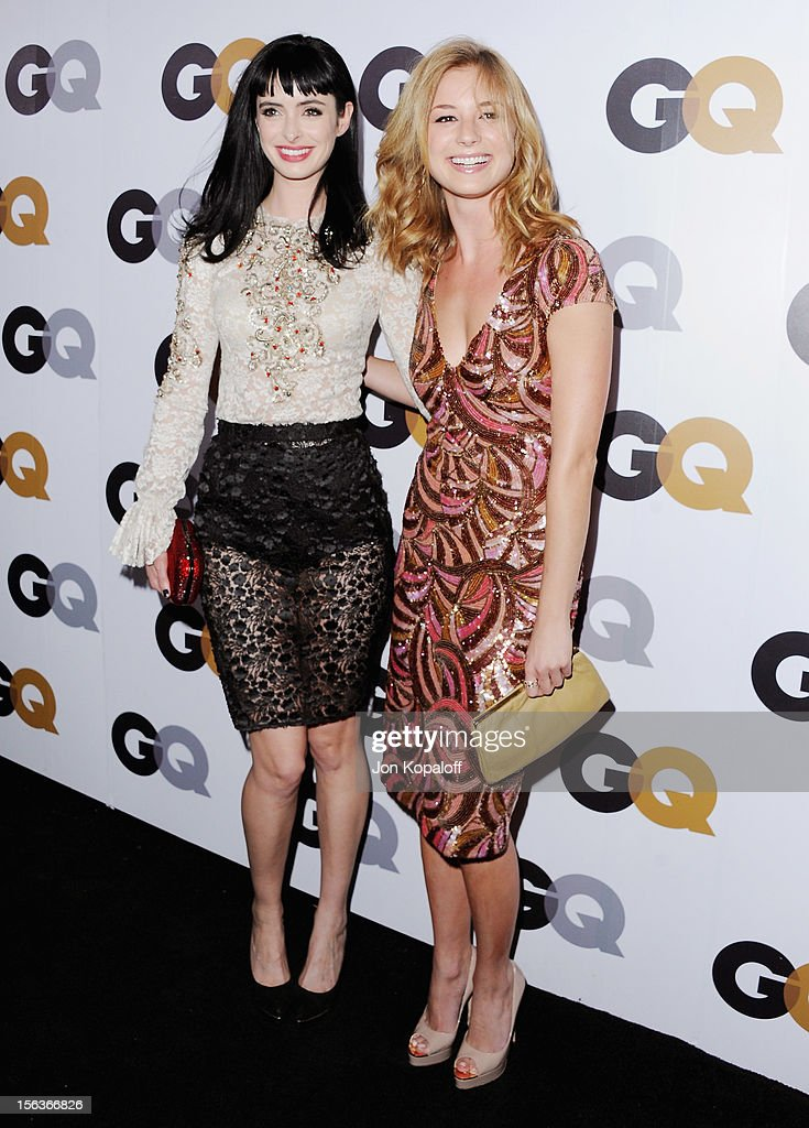 Actress Krysten Ritter and actress Emily VanCamp arrive at GQ Men Of The Year Party at Chateau Marmont on November 13, 2012 in Los Angeles, California.