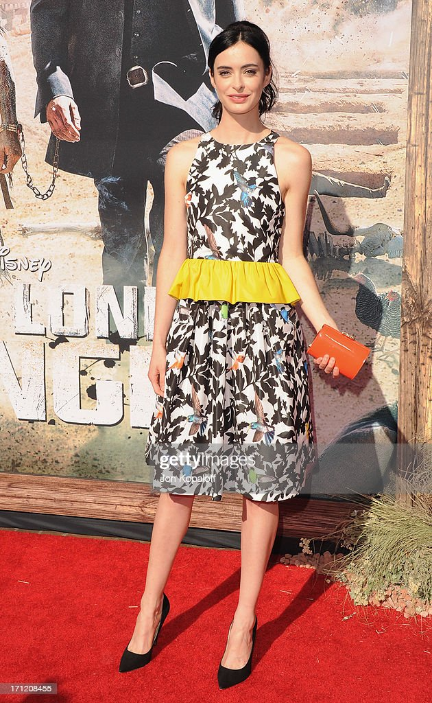 Actress <a gi-track='captionPersonalityLinkClicked' href=/galleries/search?phrase=Krysten+Ritter&family=editorial&specificpeople=655673 ng-click='$event.stopPropagation()'>Krysten Ritter</a> arrives at the Los Angeles premiere 'The Lone Ranger' at Disney California Adventure Park on June 22, 2013 in Anaheim, California.
