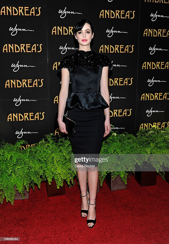 Actress Krysten Ritter arrives for the grand opening celebration at Andrea's at the Wynn Las Vegas on January 16, 2013 in Las Vegas, Nevada.