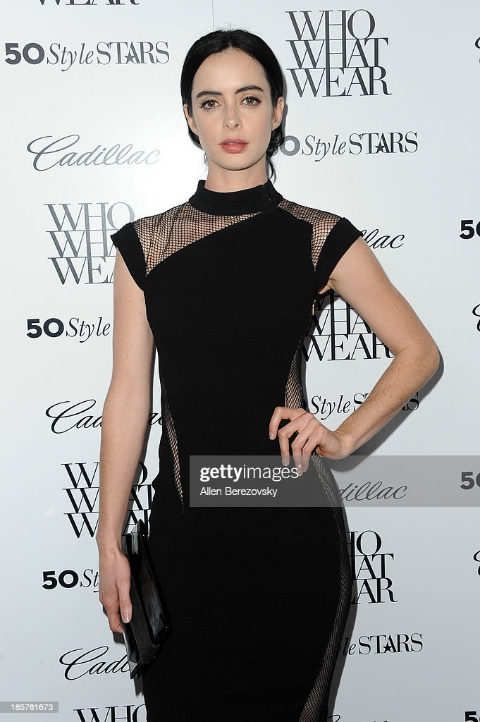 Actress <a gi-track='captionPersonalityLinkClicked' href=/galleries/search?phrase=Krysten+Ritter&family=editorial&specificpeople=655673 ng-click='$event.stopPropagation()'>Krysten Ritter</a> attends the Who What Wear and Cadillac's 50 Most Fashionable Women of 2013 event at The London Hotel on October 24, 2013 in West Hollywood, California.