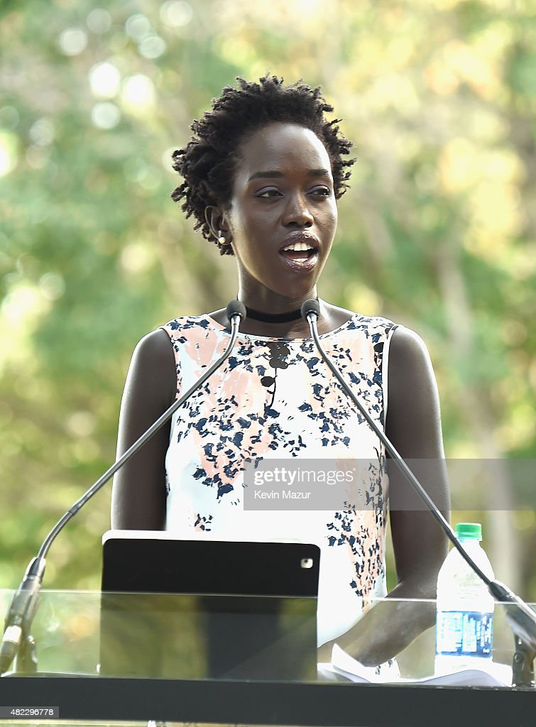 Actress Kuoth Wiel speaks at Amnesty International Tapestry Honoring John Lennon Unveiling at Ellis Island on July 29, 2015 in New York City.