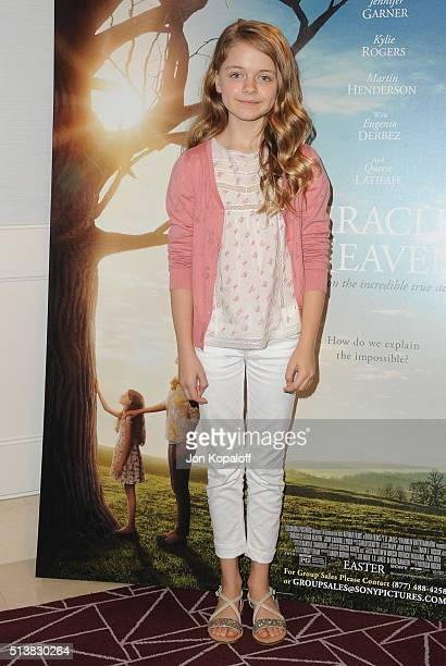 Actress Kylie Rogers arrives at Sony Pictures Releasing's 'Miracles From Heaven' Photo Call at The London Hotel on March 4 2016 in West Hollywood...