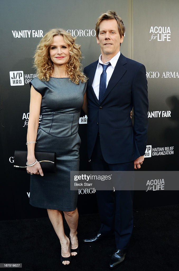Actress Kyra Sedgwick and actor Kevin Bacon arrive at the Giorgio Armani party to celebrate Paris Photo Los Angeles Vernissage opening night at Paramount Studios on April 25, 2013 in Hollywood, California.