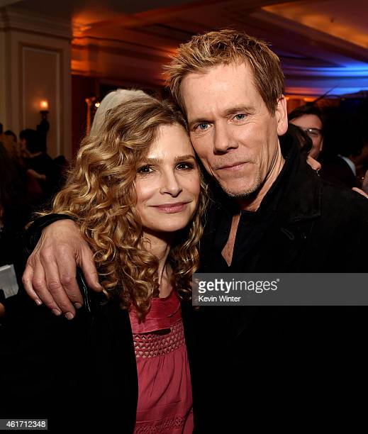 Actress Kyra Sedgwick and her husband actor Kevin Bacon pose at the Fox Winter TCA AllStar Party at the Langham Huntington Hotel on January 17 2015...