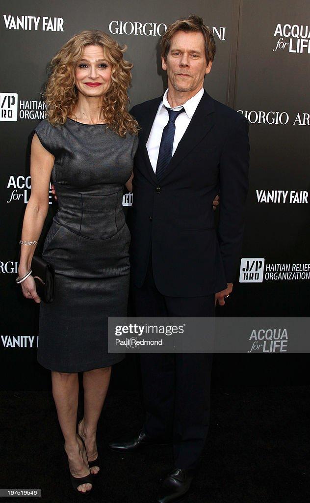 Actress Kyra Sedgwick and Kevin Bacon arrive at the Armani party during Paris Photo LA - Opening Night at Paramount Studios on April 25, 2013 in Hollywood, California.