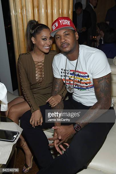 Actress La La Anthony and basketball player Carmelo Anthony attend the STARZ 'Power' New York season three premiere after party at the Top of the...