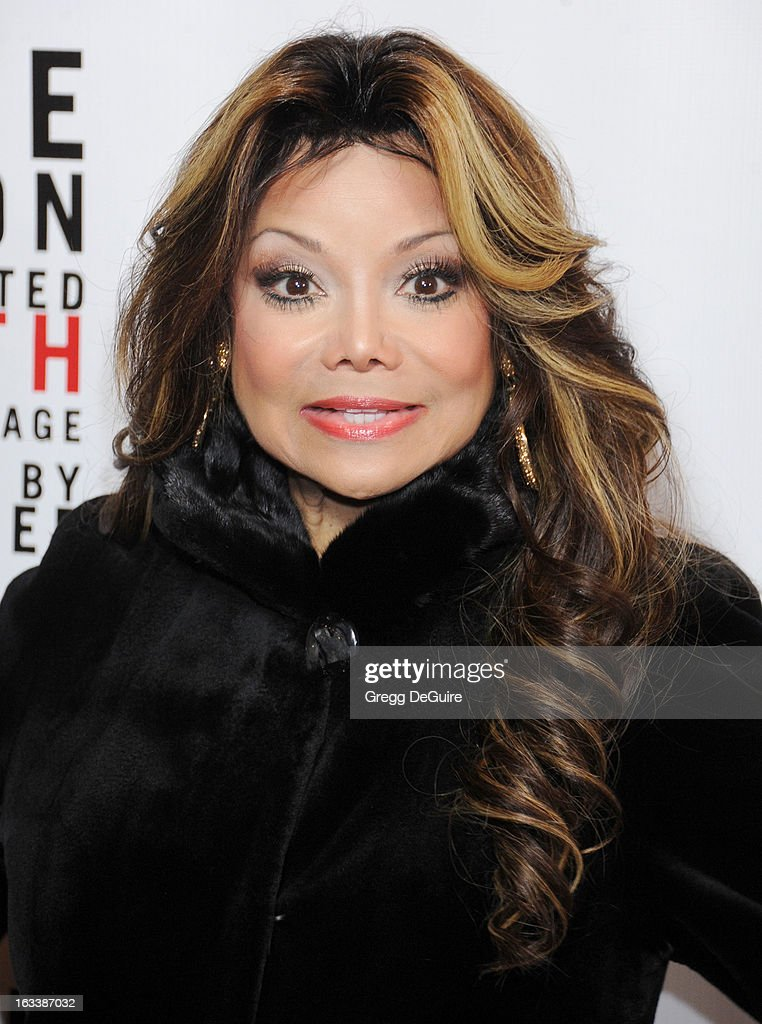 Actress La Toya Jackson arrives at the Los Angeles opening night of 'Mike Tyson - Undisputed Truth' at the Pantages Theatre on March 8, 2013 in Hollywood, California.