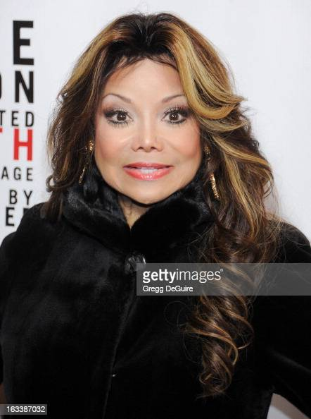 Actress La Toya Jackson arrives at the Los Angeles opening night of 'Mike Tyson Undisputed Truth' at the Pantages Theatre on March 8 2013 in...