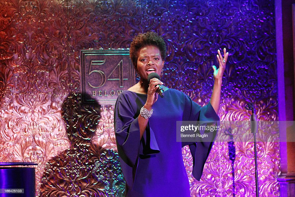 Actress Lachanze performs during the Press Preview at 54 Below on April 12, 2013 in New York City.