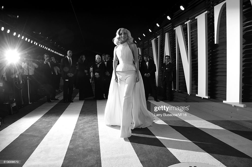 Actress Lady Gaga attends the 2016 Vanity Fair Oscar Party hosted by Graydon Carter at Wallis Annenberg Center for the Performing Arts on February 28, 2016 in Beverly Hills, California.
