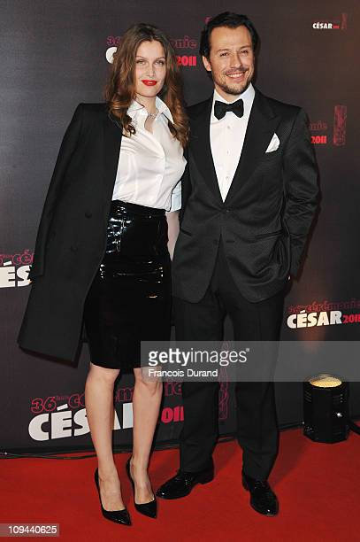 Actress Laetitia Casta and Stefano Accorsi arrive at the 36th French Cesar film awards ceremony at Theatre du Chatelet on February 25 2011 in Paris...
