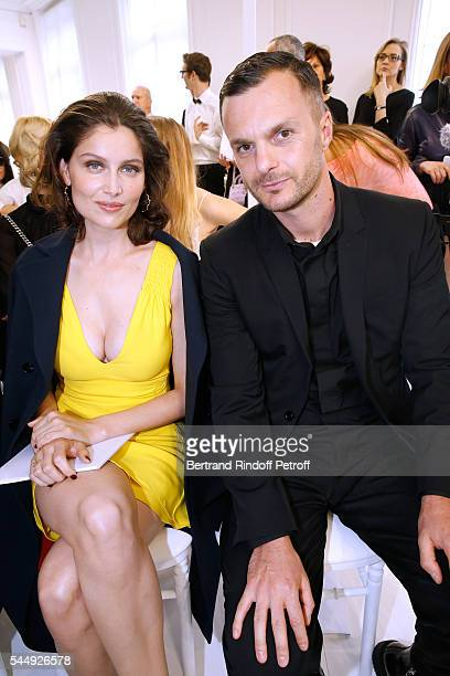 Actress laetitia Casta and stylist Kris Van Assche attend the Christian Dior Haute Couture Fall/Winter 20162017 show as part of Paris Fashion Week on...