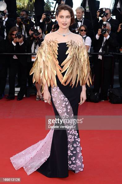 Actress Laetitia Casta attends the Premiere of 'Zulu' and the Closing Ceremony of The 66th Annual Cannes Film Festival at Palais des Festivals on May...