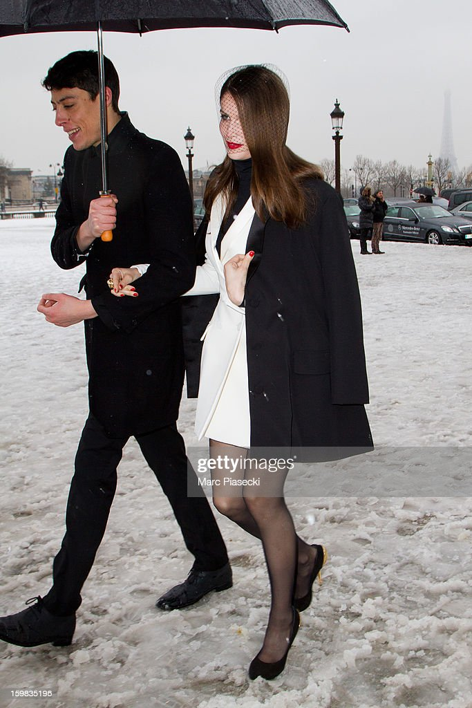 Actress Laetitia Casta is seen leaving the Christian Dior Spring/Summer 2013 Haute-Couture show as part of Paris Fashion Week at on January 21, 2013 in Paris, France.