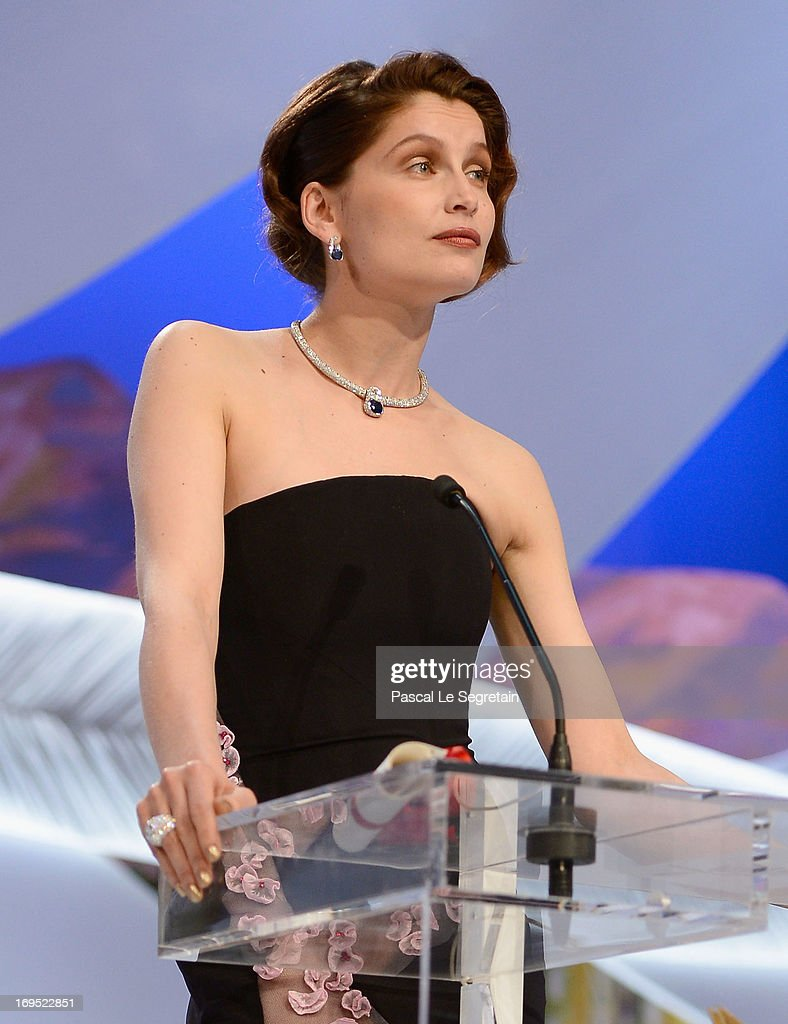 Actress Laetitia Casta speaks on stage at the Inside Closing Ceremony during the 66th Annual Cannes Film Festival at the Palais des Festivals on May 26, 2013 in Cannes, France.
