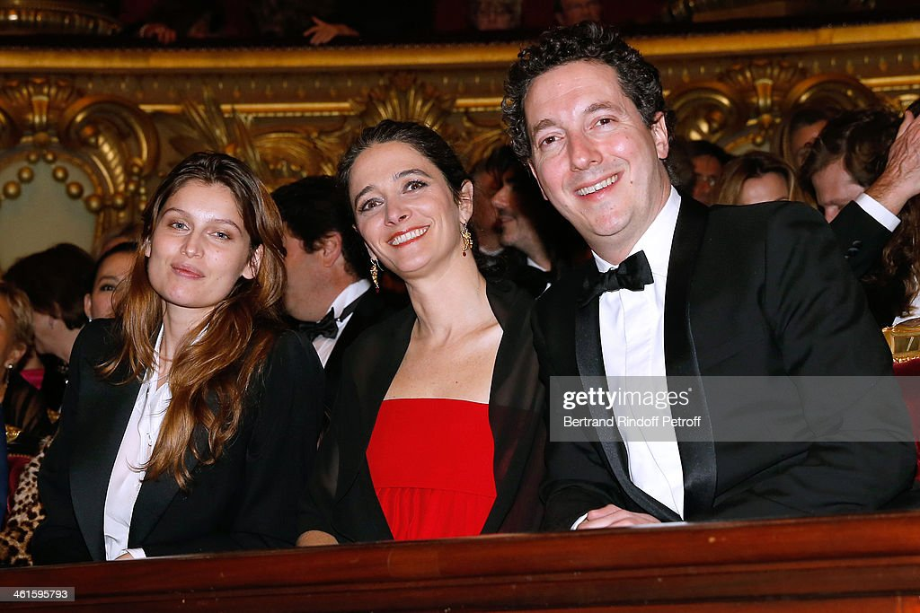 Actress laetitia Casta with actor Guillaume Gallienne and his wife Amandine Gallienne attend Arop Charity Gala with 'Ballet du Theatre Bolchoi'. Held at Opera Garnier on January 9, 2014 in Paris, France.