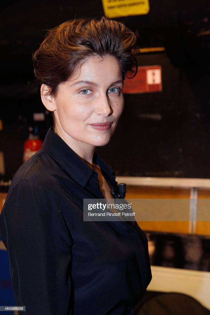 Actress <a gi-track='captionPersonalityLinkClicked' href=/galleries/search?phrase=Laetitia+Casta&family=editorial&specificpeople=203075 ng-click='$event.stopPropagation()'>Laetitia Casta</a>, with her new Hair's Cutt attends the 'Vivement Dimanche' French TV Show at Pavillon Gabriel on February 25, 2015 in Paris, France.