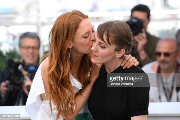 Actress Laetitia Dosch and director Leonor Serraille attend the 'Jeune Femme' photocall during the 70th annual Cannes Film Festival at Palais des...