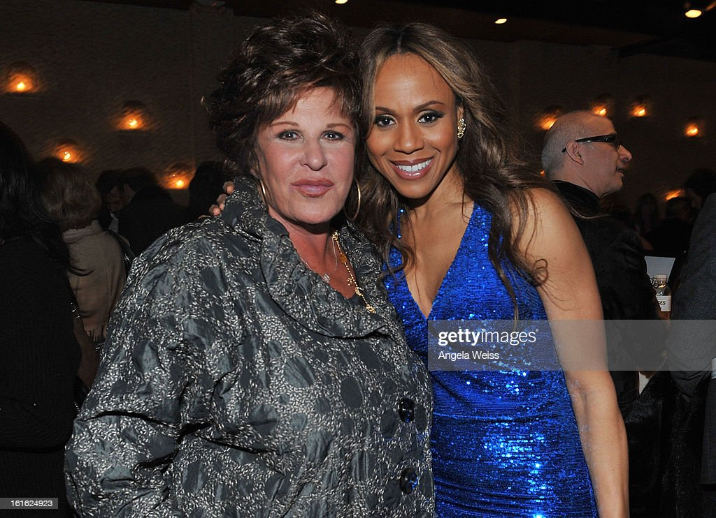 Actress Lainie Kazal and singer Deborah Cox attend the opening night after party of 'Jekyll & Hyde' held at Beso on February 12, 2013 in Hollywood, California.