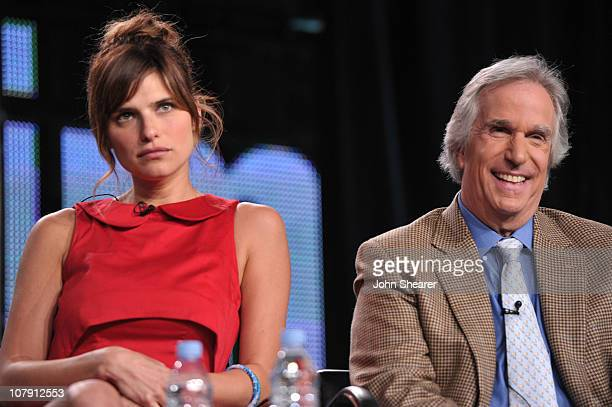 Actress Lake Bell and actor Henry Winkler speak onstage during the 'Childrens Hospital' panel at the 2011 January Turner TCA at The Langham Hotel on...