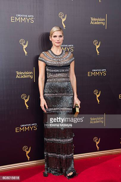 Actress Lake Bell arrives at the Creative Arts Emmy Awards at Microsoft Theater on September 10 2016 in Los Angeles California