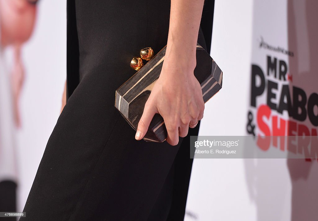 Actress Lake Bell (fashion detail) attends the premiere of Twentieth Century Fox and DreamWorks Animation's 'Mr. Peabody & Sherman' at Regency Village Theatre on March 5, 2014 in Westwood, California.