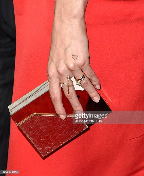 Actress Lake Bell fashion detail attends the premiere of the Weinstein Company's 'No Escape' at Regal Cinemas LA Live on August 17 2015 in Los...