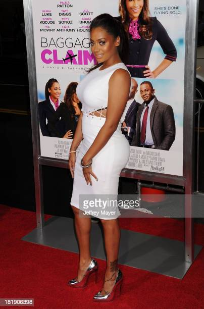 Actress LaLa Anthony arrives at the Los Angeles premiere of 'Baggage Claim' at Regal Cinemas LA Live on September 25 2013 in Los Angeles California