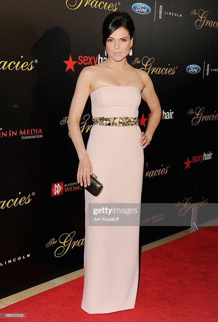 Actress <a gi-track='captionPersonalityLinkClicked' href=/galleries/search?phrase=Lana+Parrilla&family=editorial&specificpeople=2303014 ng-click='$event.stopPropagation()'>Lana Parrilla</a> arrives 38th Annual Gracie Awards Gala at The Beverly Hilton Hotel on May 21, 2013 in Beverly Hills, California.