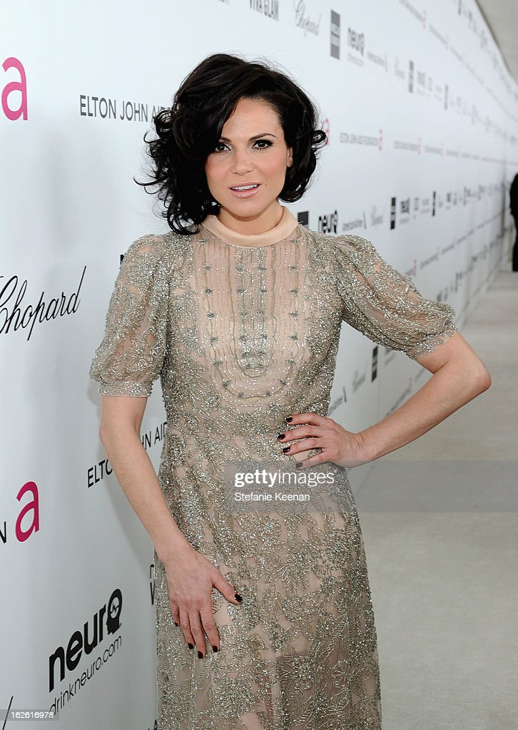 Actress <a gi-track='captionPersonalityLinkClicked' href=/galleries/search?phrase=Lana+Parrilla&family=editorial&specificpeople=2303014 ng-click='$event.stopPropagation()'>Lana Parrilla</a> attends Chopard at 21st Annual Elton John AIDS Foundation Academy Awards Viewing Party at West Hollywood Park on February 24, 2013 in West Hollywood, California.