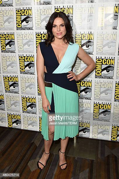 Actress Lana Parrilla attends the 'Once Upon A Time' press room during ComicCon International 2015 at the Hilton Bayfront on July 11 2015 in San...