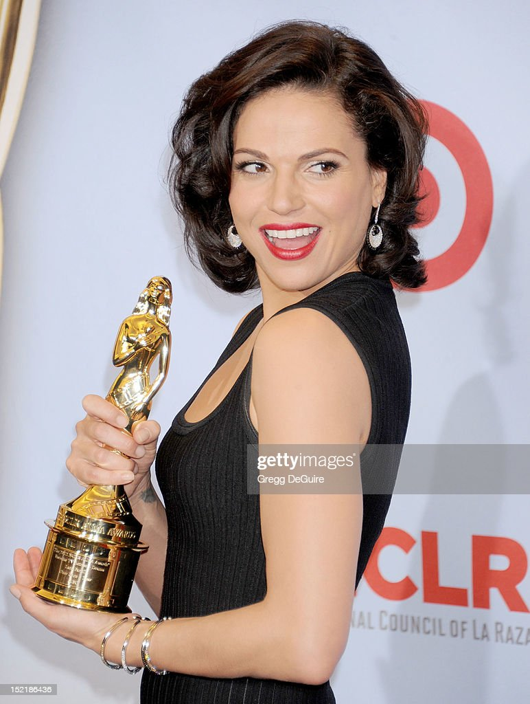 Actress <a gi-track='captionPersonalityLinkClicked' href=/galleries/search?phrase=Lana+Parrilla&family=editorial&specificpeople=2303014 ng-click='$event.stopPropagation()'>Lana Parrilla</a> poses in the press room at the 2012 NCLR ALMA Awards at Pasadena Civic Auditorium on September 16, 2012 in Pasadena, California.